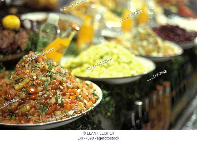 Market stand with food, Jemaa El Fna, Marrakesh, Morocco, Africa