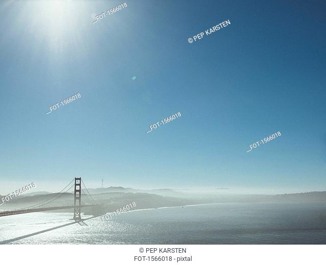 View of Golden Gate Bridge over San Francisco Bay against clear sky, California, USA