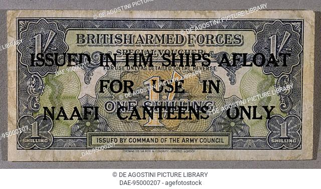 1 shilling note issued by the British armed forces for NAAFI personnel, 1939-1945, overprinted, obverse. 20th century