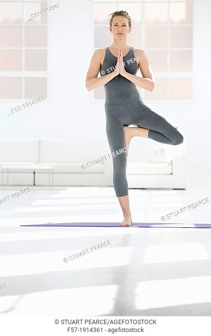 Healthy young woman doing the tree pose yoga position