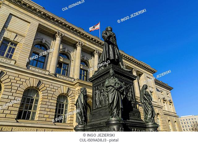 The Abgeordnetenhaus (House of Representatives), the state parliament of Berlin, with statue of former minister Freiherr vom Stein, Berlin, Germany