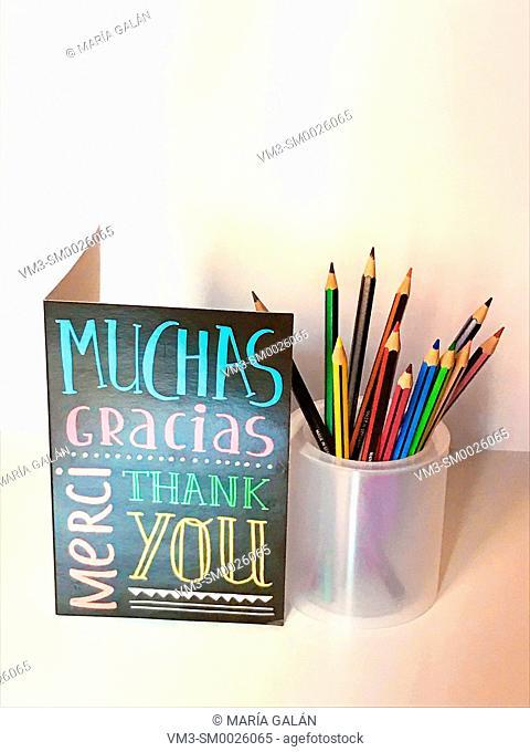 Appreciation card and color pencils