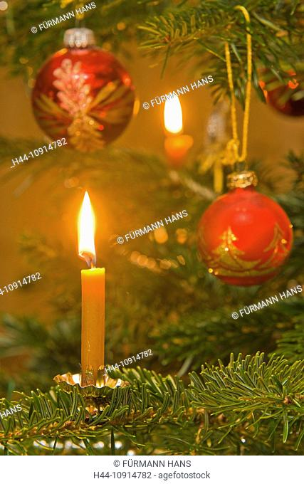 Europe, Germany, Bavaria, Upper Bavaria, Berchtesgaden county, Christmas, infant Jesus, Christmas fair, jewellery, decoration, fir-tree, Christmas tree
