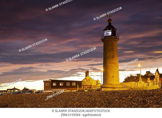 Dusk at Kingston Lighthouse, Shoreham-by-Sea, West Sussex, England