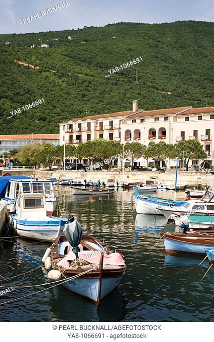 Moscenicka Draga, Istria, Croatia, Europe  Moored boats in fishing harbour in resort town on Kvarner coast of Istrian peninsula