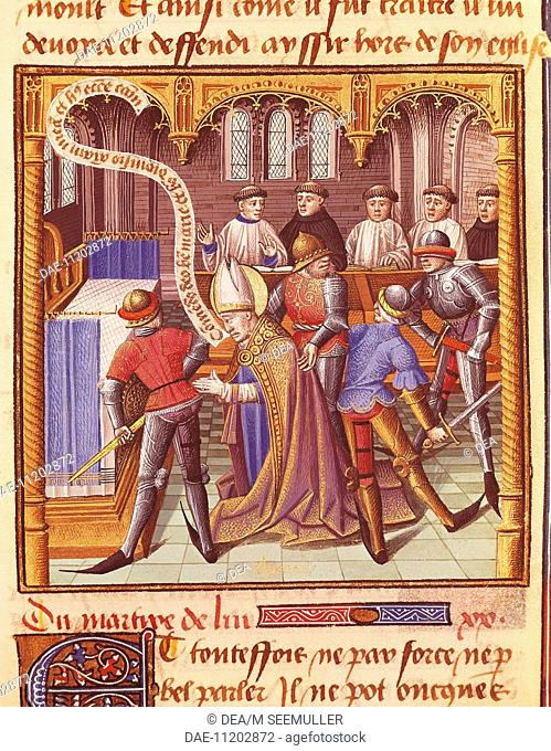 The murder of Thomas Beckett, miniature from The Mirror of History by Vincent de Beauvais (Vincenzo di Beauvais), manuscript, France 15th Century