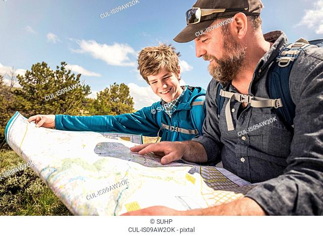 Hiking father and teenage son sitting reading folding map, Cody, Wyoming, USA