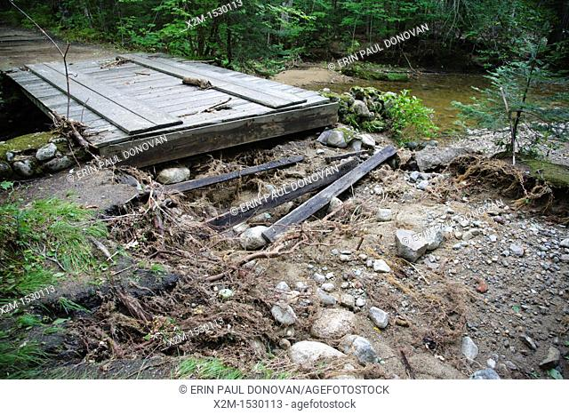 Trail washout along the Lincoln Woods Trail in Lincoln, New Hampshire USA from Tropical Storm Irene in 2011  This tropical storm / hurricane caused destruction...