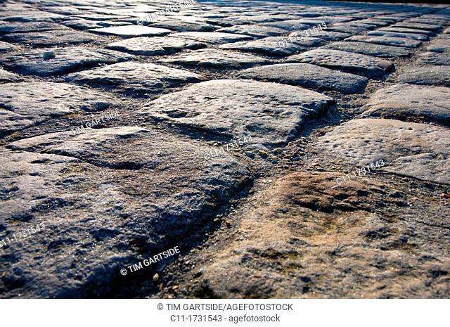 old cobblestones, Honfleur, Normandy, France