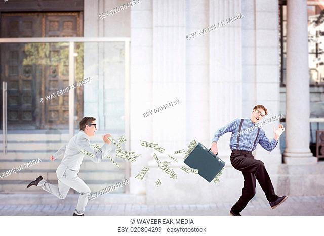 Composite image of running businessman