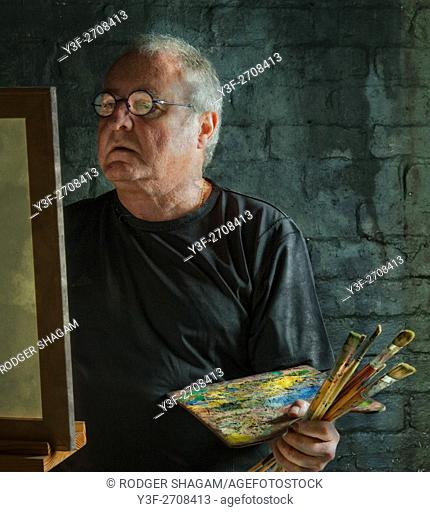 A fine artist at his easel. Self Portrait. Cape Town, South Africa