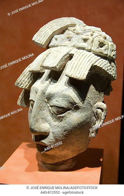 Mexico.Mexico city.National Museum of Antropology.Maya culture.Stucco head of the funerary crypt of Pakal King of Palenque in Chiapas