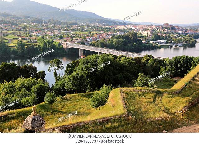 Bridge over the river Minho, border Spain and Portugal  Valença do Minho, Viana do Castelo, Portugal, Tui, Pontevedra, Galicia, Spain