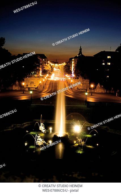 Germany, Bavaria, Illuminated Fountain in Munich at night
