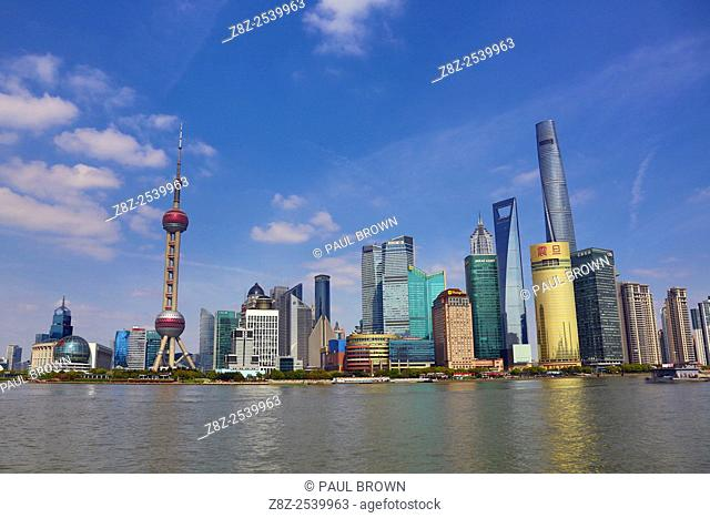 General view of the Pudong city skyline in Shanghai with the Oriental Pearl TV Tower, Shanghai, China