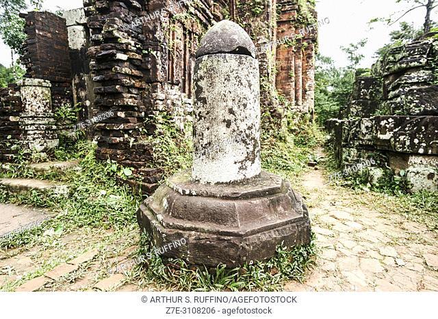 Lingam stone sculpture. My Son Sanctuary, archaeological site, UNESCO World Heritage Site, Quang Nam Province, Da Nang, Vietnam, Southeast Asia