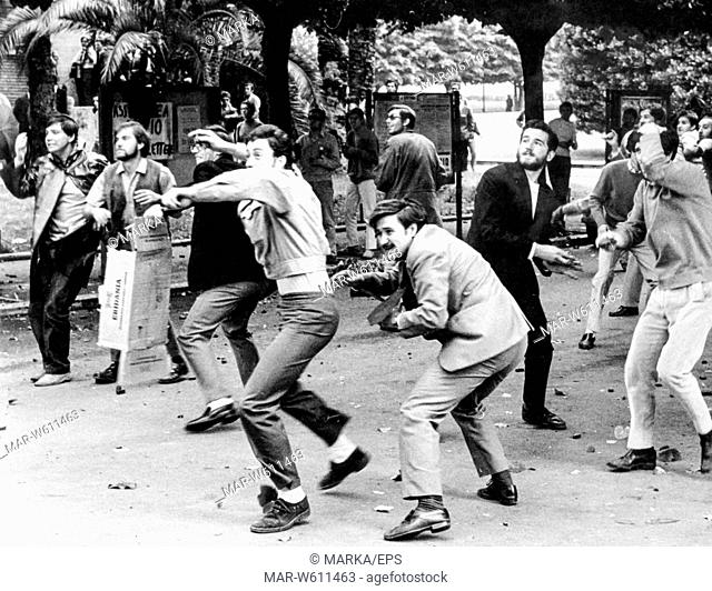 stone-throwing clashes between students of opposing factions University, Rome, 1966