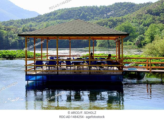 Pavilion in the river Bistrica, at Syri i Kalter, near Saranda, Albania