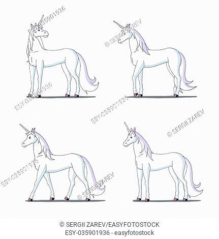Set of White Unicorn images. Digital painting full color cartoon style illustration isolated on white background