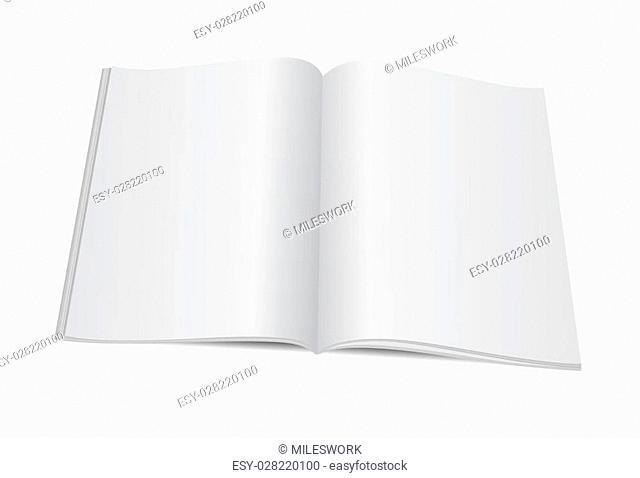 Vector illustration. Blank opened magazine template
