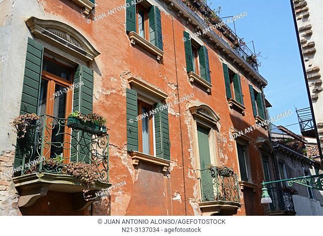 Building facade. Venice, Veneto, Italy, Europe