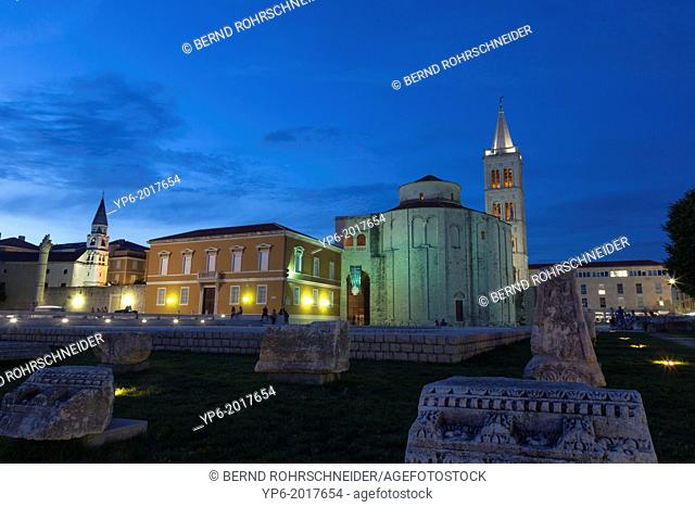 Roman forum with Sv Donat and Sv Stosija at night, Zadar, Croatia