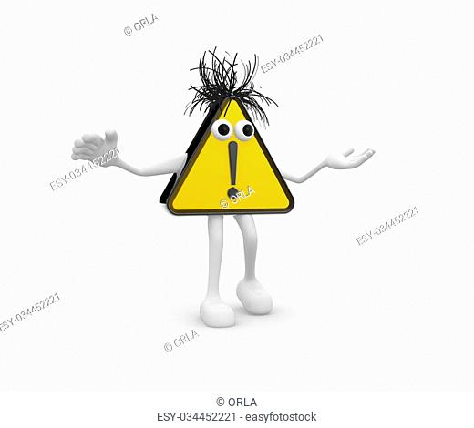3D Road sign - exclamation mark
