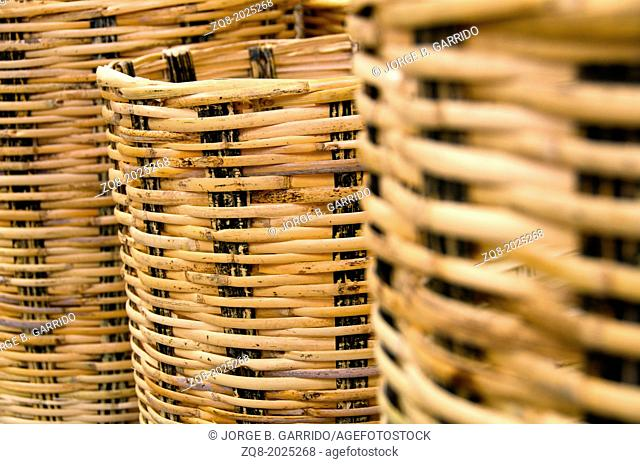 Abstract decorative wooden textured basket