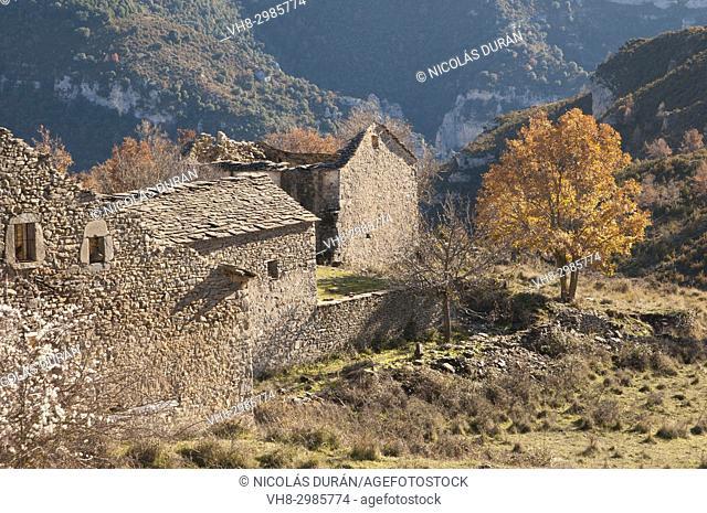 Otín abandoned village, Sierra de Guara, Huesca, Aragón, Spain