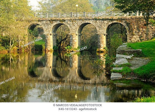 The bridge over the river Verdugo  A Lama, Pontevedra, Galicia, Spain