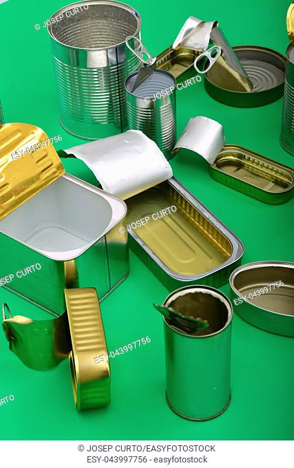 view of tin can isolated on green