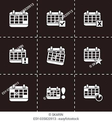 Vector black calendar icon set on black background