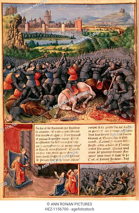 Scenes from the First Crusade, 1096-1099 (c1490). In the foreground of the main image, mounted knights unhorsed and killed in a melee of hand-to-hand fighting...