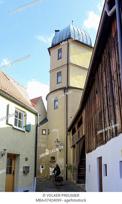Friedberg, ramparts, old water tower, Swabia, Bavaria, Germany