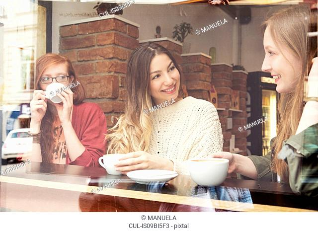 Young women chatting over coffee in cafe