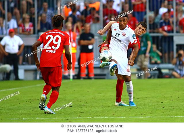 Muenchen, Germany 31st August 2019: 1. BL - 19/20 - FC Bayern Munich Vs. FSV FSV FSV Mainz 05 v. li. in the duel ¬UKarim Onisiwo (1st FSV FSV FSV Mainz 05) and...