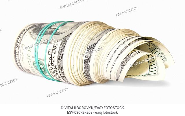 Roll of money on the side isolated on white background