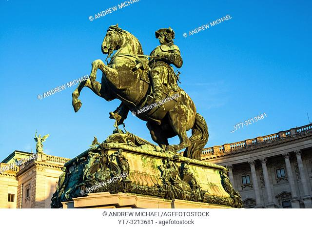 Prince Eugene of Savoy equestrian statue in front of Neue Burg building on Heldenplatz in Hofburg palace complex
