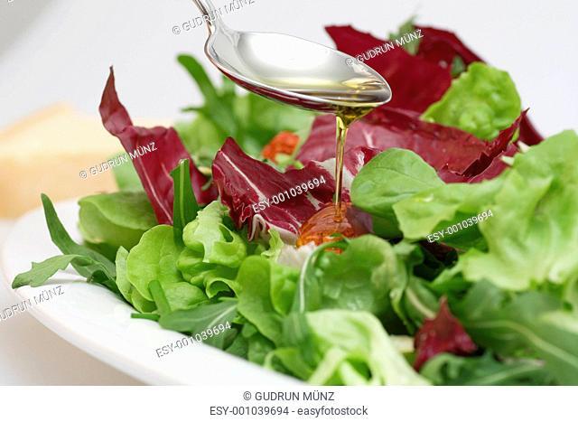Salad with virgin olive oil