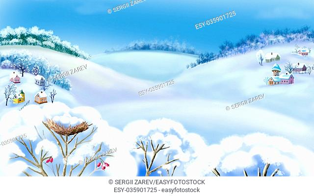 Romantic Rural Landscape in a Wonderful Frosty Winter Day. Outdoor New Year scene, handmade illustration in a classic cartoon style