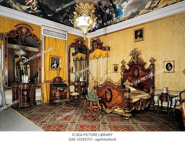 Spain - Aranjuez (World Heritage Site by UNESCO, 2001), the Royal Palace (Palacio Real). Bedroom of Isabella II