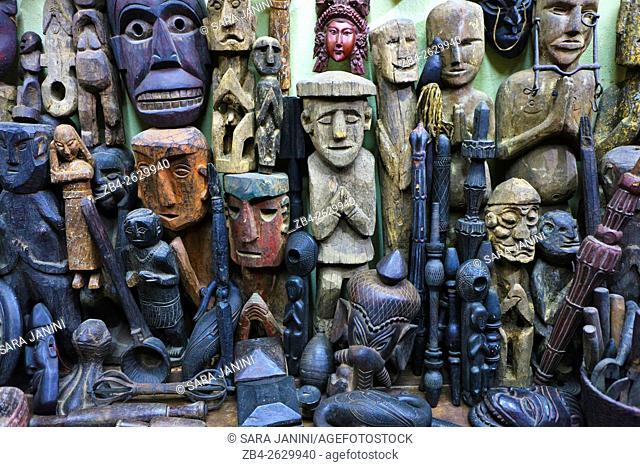 Wooden masks and sculptures in a shop, Thammel, Kathmandu, Nepal, Asia