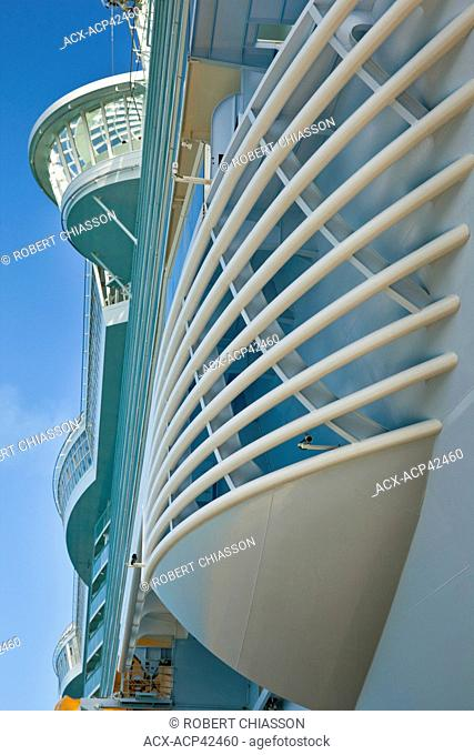 Low angle view of the side of the cruise ship Allure of the Seas which is operated by Royal Caribbean International