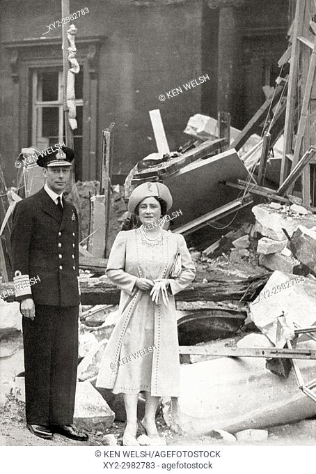 King George VI and Queen Elizabeth outside Buckingham Palace which suffered bomb damage on 13 September 1940, during WWII. George VI, 1895 - 1952