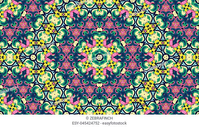 Seamless circular vector pattern. Colored decorative repainting background with tribal and ethnic motifs. Abstract floral geometric lace