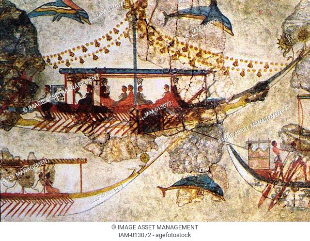 Minoans Traders: wall painting from Acrotiri in Thera Santorini showing Minoan ships. Bronze Age 3200-1050 BC. The exchange of products with distant countries...