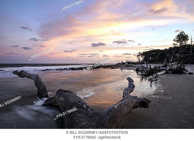 Colorful Sunset at Driftwood Beach - Jekyll Island, Georgia, USA