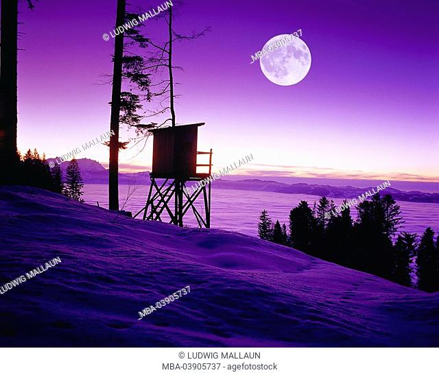 Austria, Vorarlberg, Dornbirn, Bödele, high seat, full moon, landscape, rise, hunt-pulpit, hunter-seat, hunt-high-seat, viewpoint, cloud cover, cloud-lake,moon