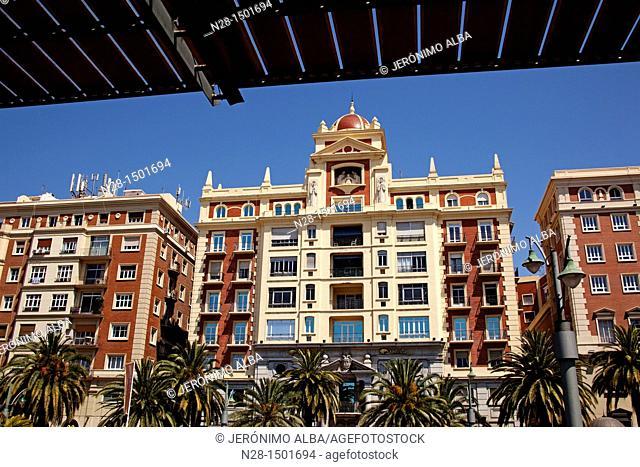 Historic buildings in the center of Malaga, Costa del Sol, Andalusia, Spain