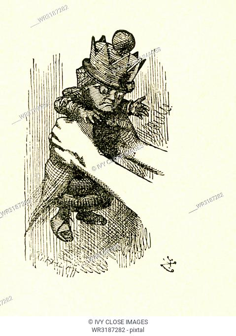 This illustration of Alice holding the Red Queen is from Through the Looking-Glass and What Alice Found There by Lewis Carroll (Charles Lutwidge Dodgson)